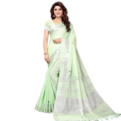 Arresting Pastel Green Colored Festive Wear Linen Saree