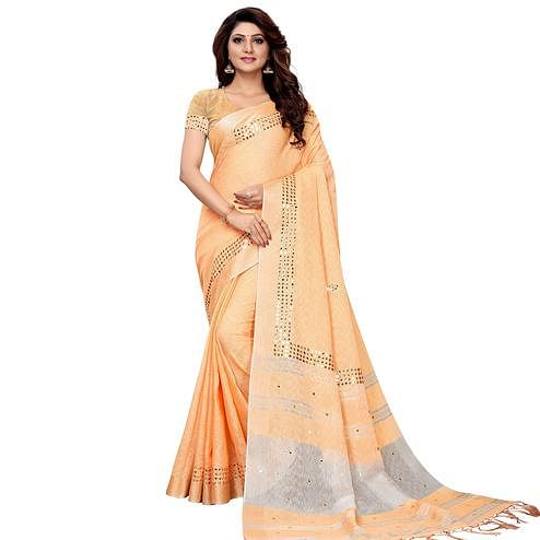 Desirable Light Orange Colored Festive Wear Linen Saree