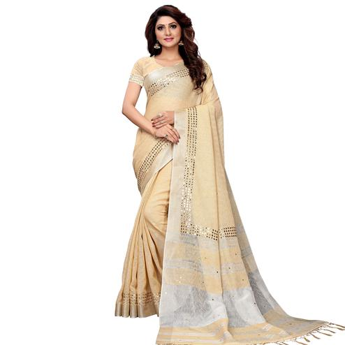 Exotic Beige Colored Festive Wear Linen Saree