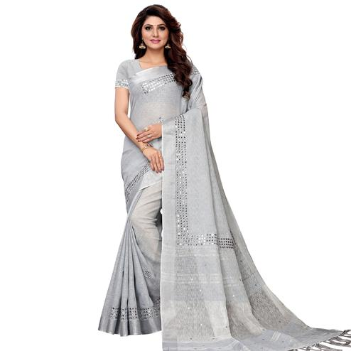 Sophisticated Light Gray Colored Festive Wear Linen Saree
