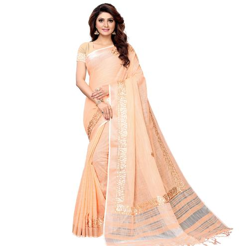Trendy Light Peach Colored Festive Wear Linen Saree