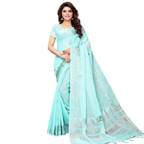Elegant Aqua Blue Colored Festive Wear Linen Saree