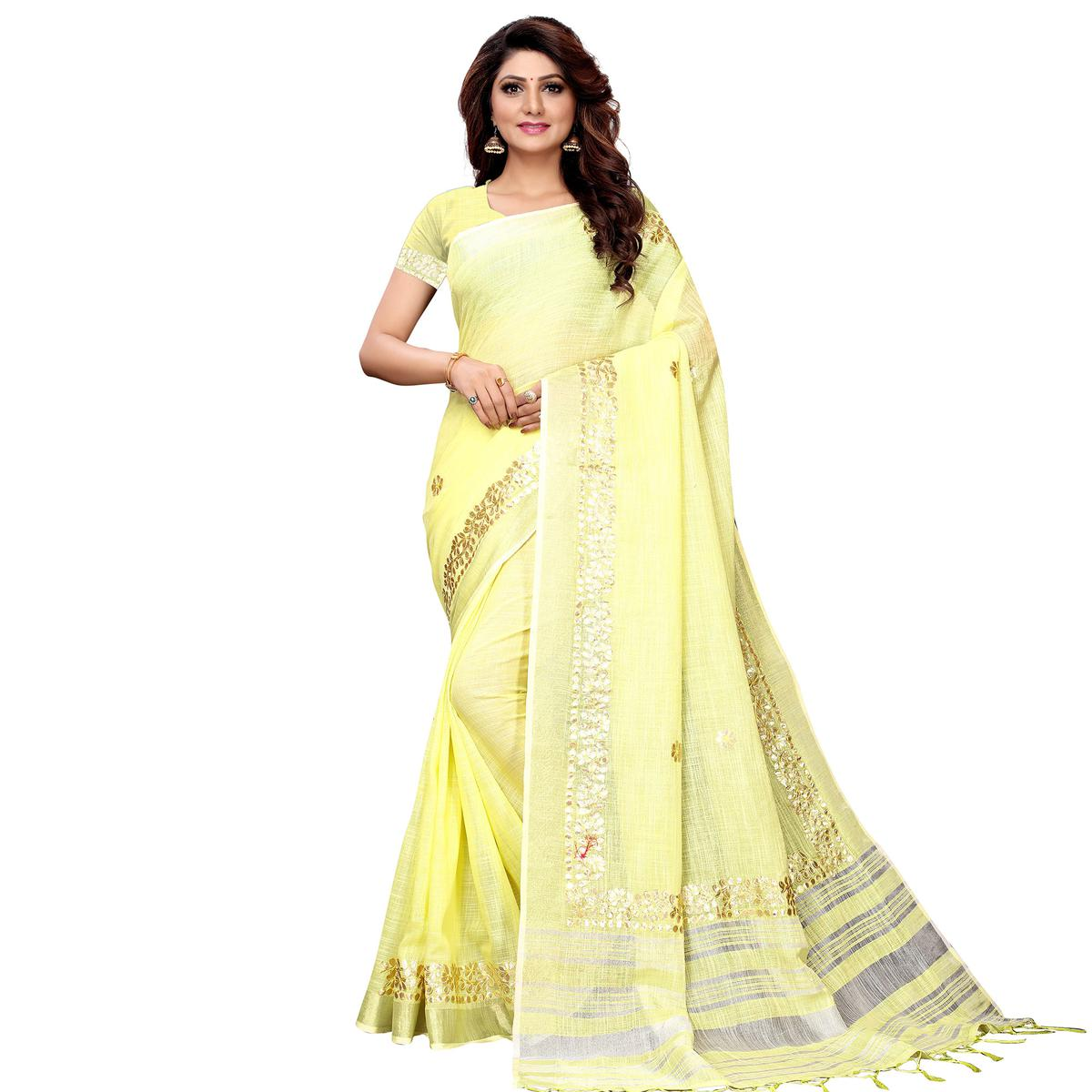 Radiant Lemon Yellow Colored Festive Wear Linen Saree
