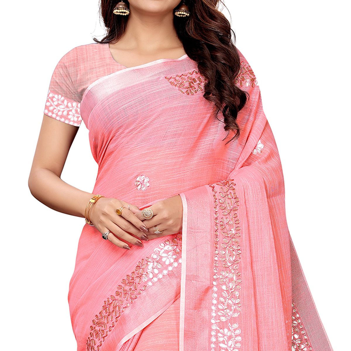 Pleasant Pink Colored Festive Wear Linen Saree