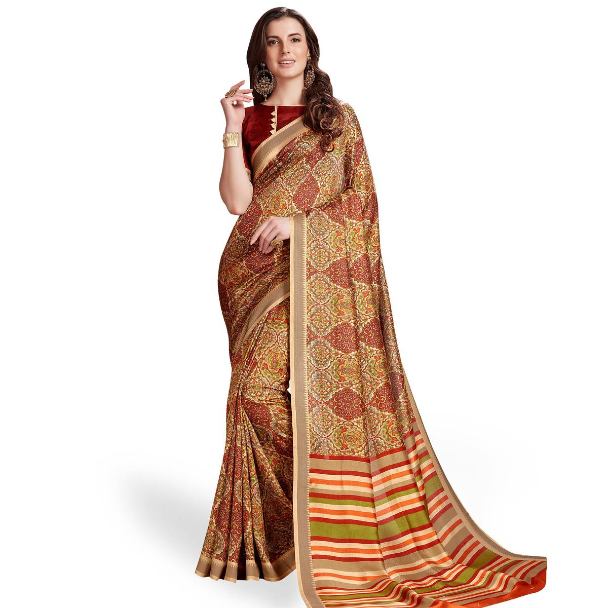 Excellent Multicolored Casual Printed Manipuri Silk Saree