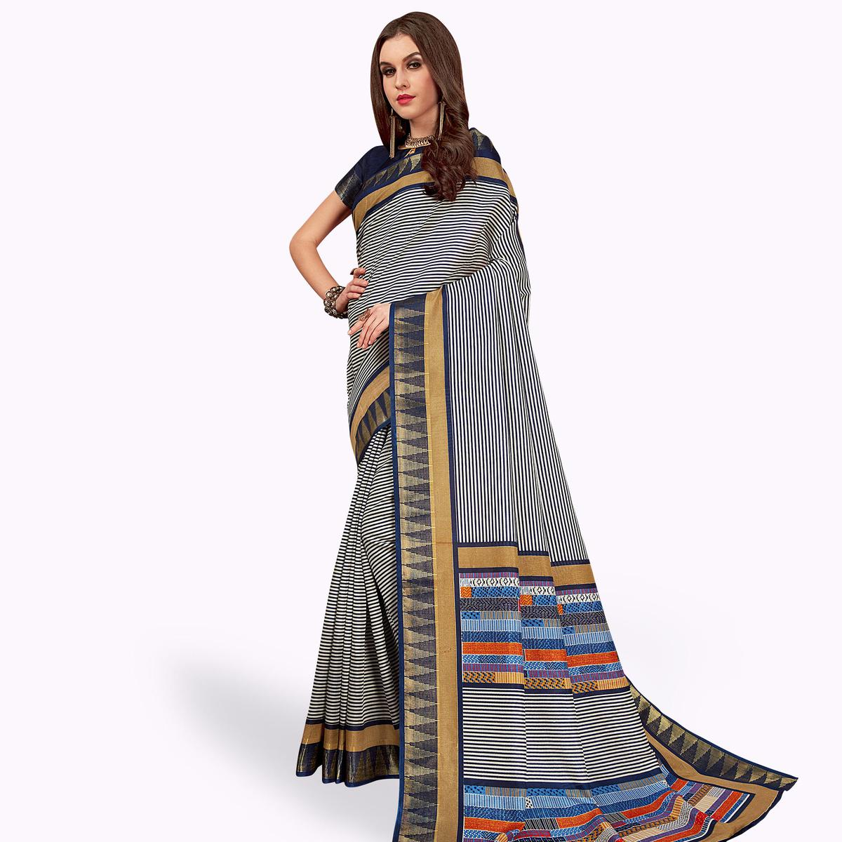 Preferable White-Navy Blue Colored Casual Printed Manipuri Silk Saree