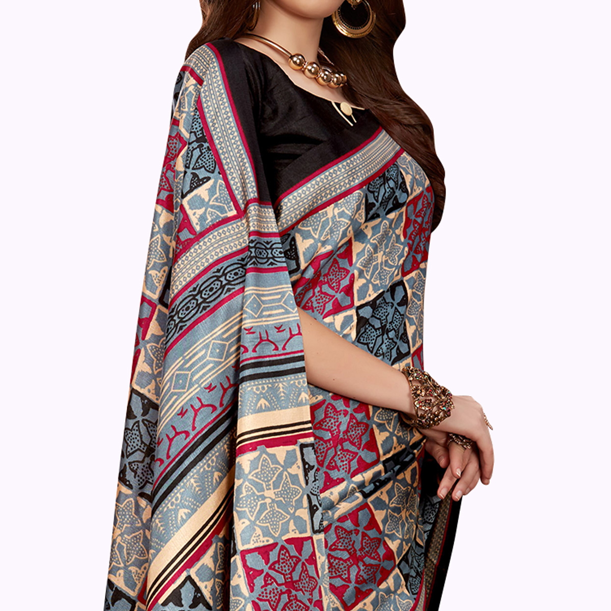 Marvellous Gray Colored Casual Printed Manipuri Silk Saree