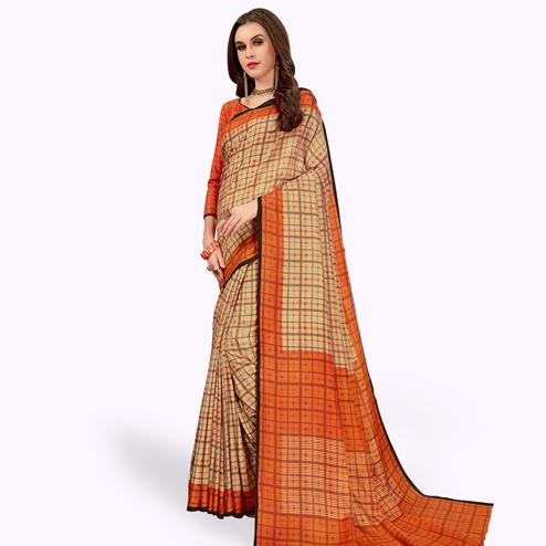 Flamboyant Beige-Orange Colored Casual Printed Manipuri Silk Saree