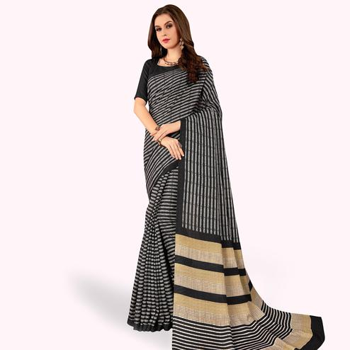 Pretty Black Colored Casual Printed Manipuri Silk Saree