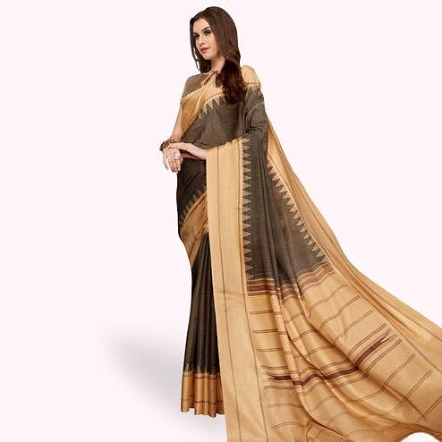 Alluring Brown Colored Casual Printed Manipuri Silk Saree