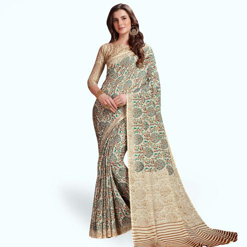 Sensational Off-White Colored Casual Printed Manipuri Silk Saree