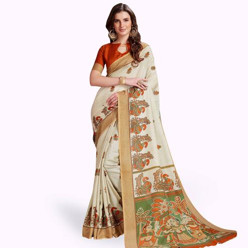 Flaunt Off-White Colored Casual Printed Manipuri Silk Saree