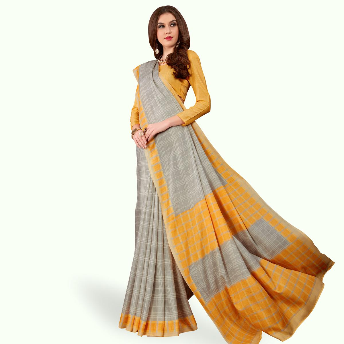 Stunning Gray Colored Casual Printed Manipuri Silk Saree