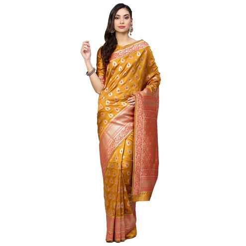 Gorgeous Mustard Yellow Colored Festive Wear Woven Silk Saree