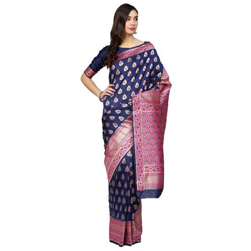 Blissful Navy Blue Colored Festive Wear Woven Silk Saree