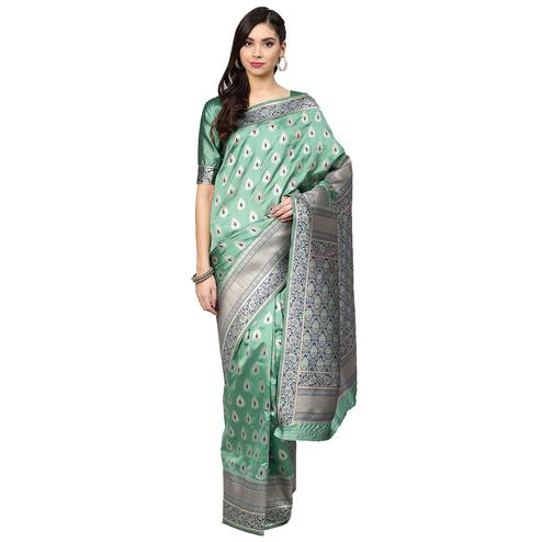 Ideal Light Aqua Green Colored Festive Wear Woven Silk Saree