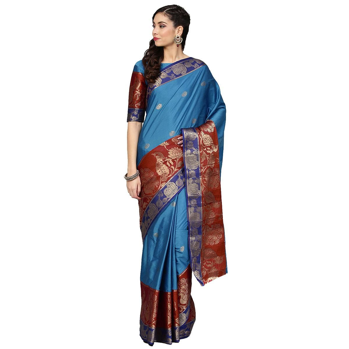 Imposing Rama Blue Colored Festive Wear Woven Silk Saree