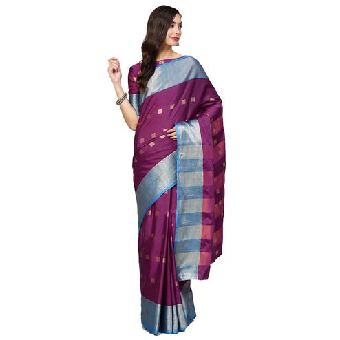 Lovely Violet Colored Festive Wear Woven Silk Saree
