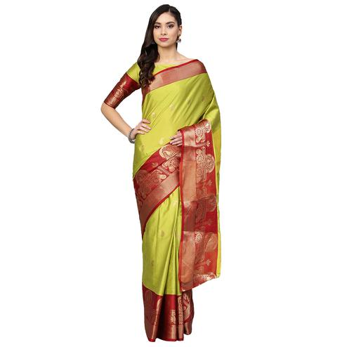 Majesty Lemon Green Colored Festive Wear Woven Silk Saree