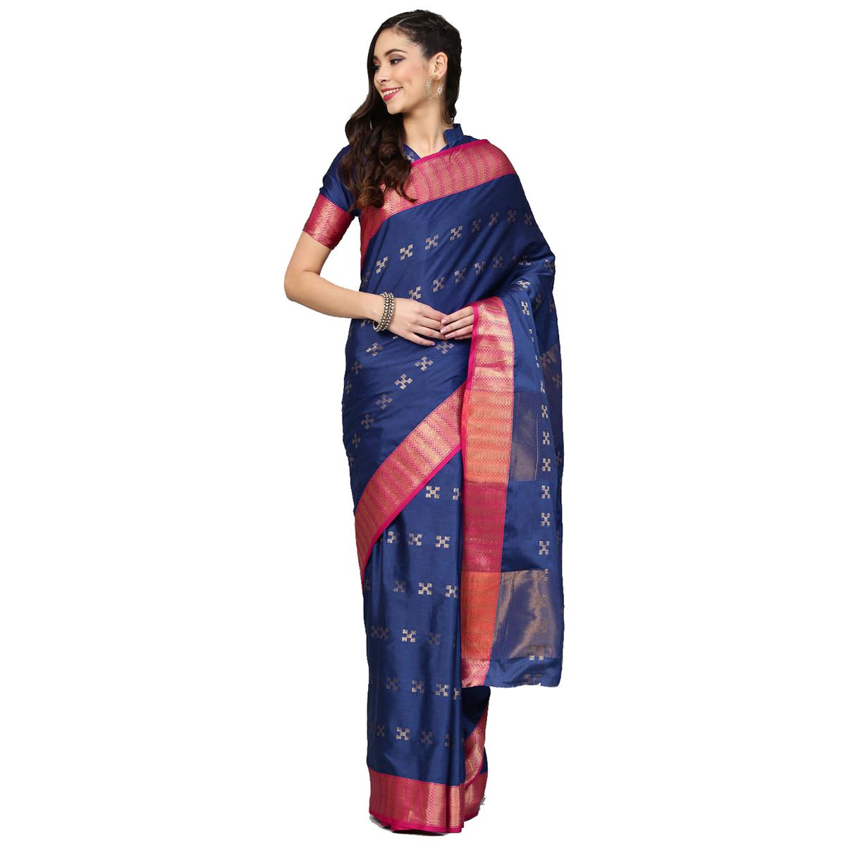 Impressive Navy Blue Colored Festive Wear Woven Silk Saree