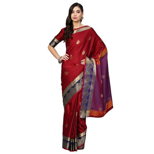 Mesmerising Maroon Colored Festive Wear Woven Silk Saree
