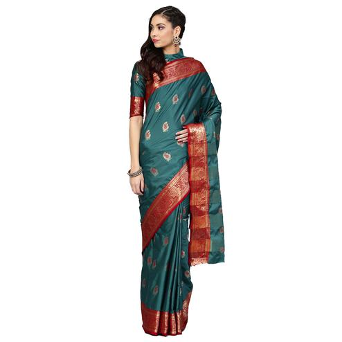 Pleasance Teal Blue Colored Festive Wear Woven Silk Saree