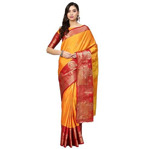 Breathtaking Yellow Colored Festive Wear Woven Silk Saree