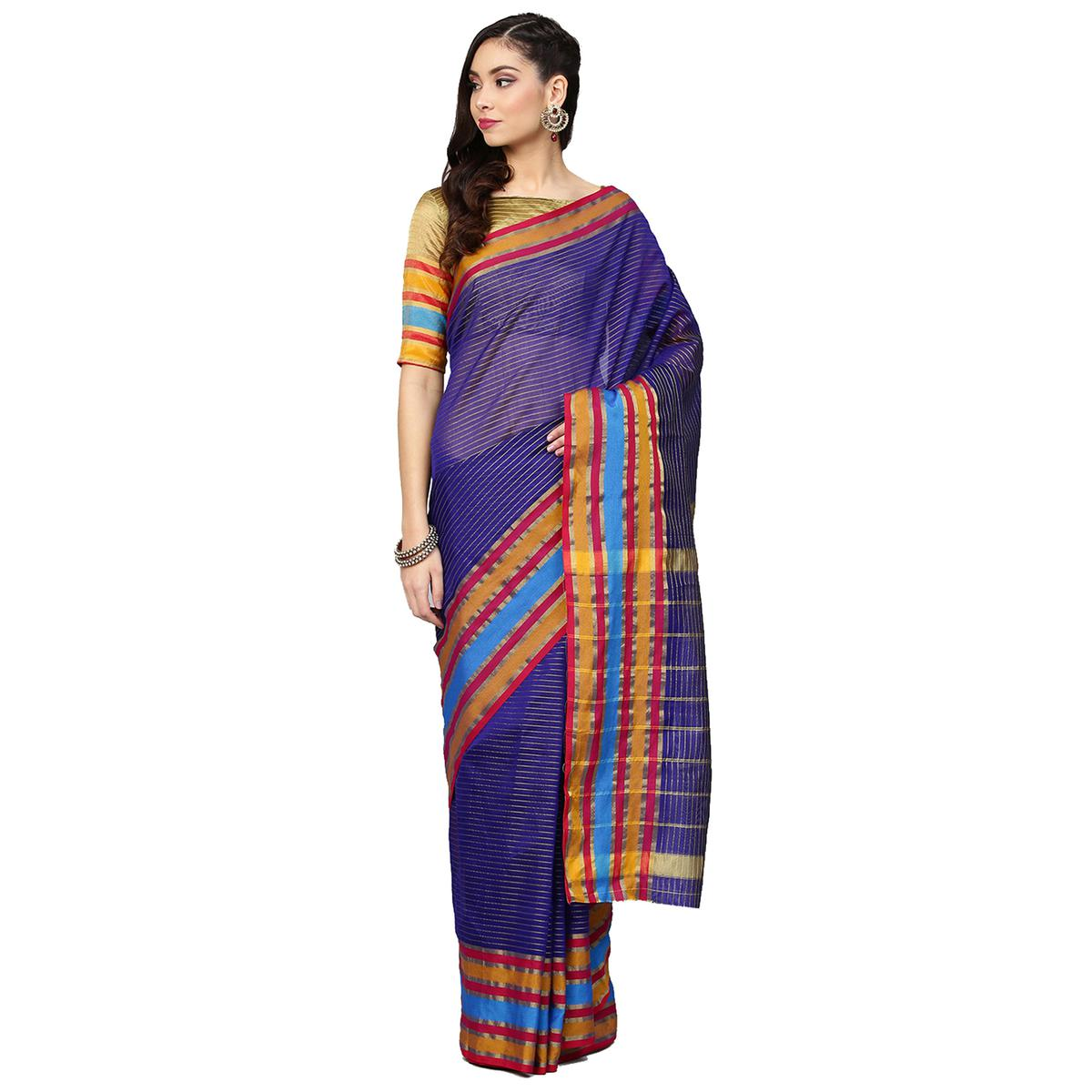 Ethnic Blue Colored Festive Wear Art Silk Saree
