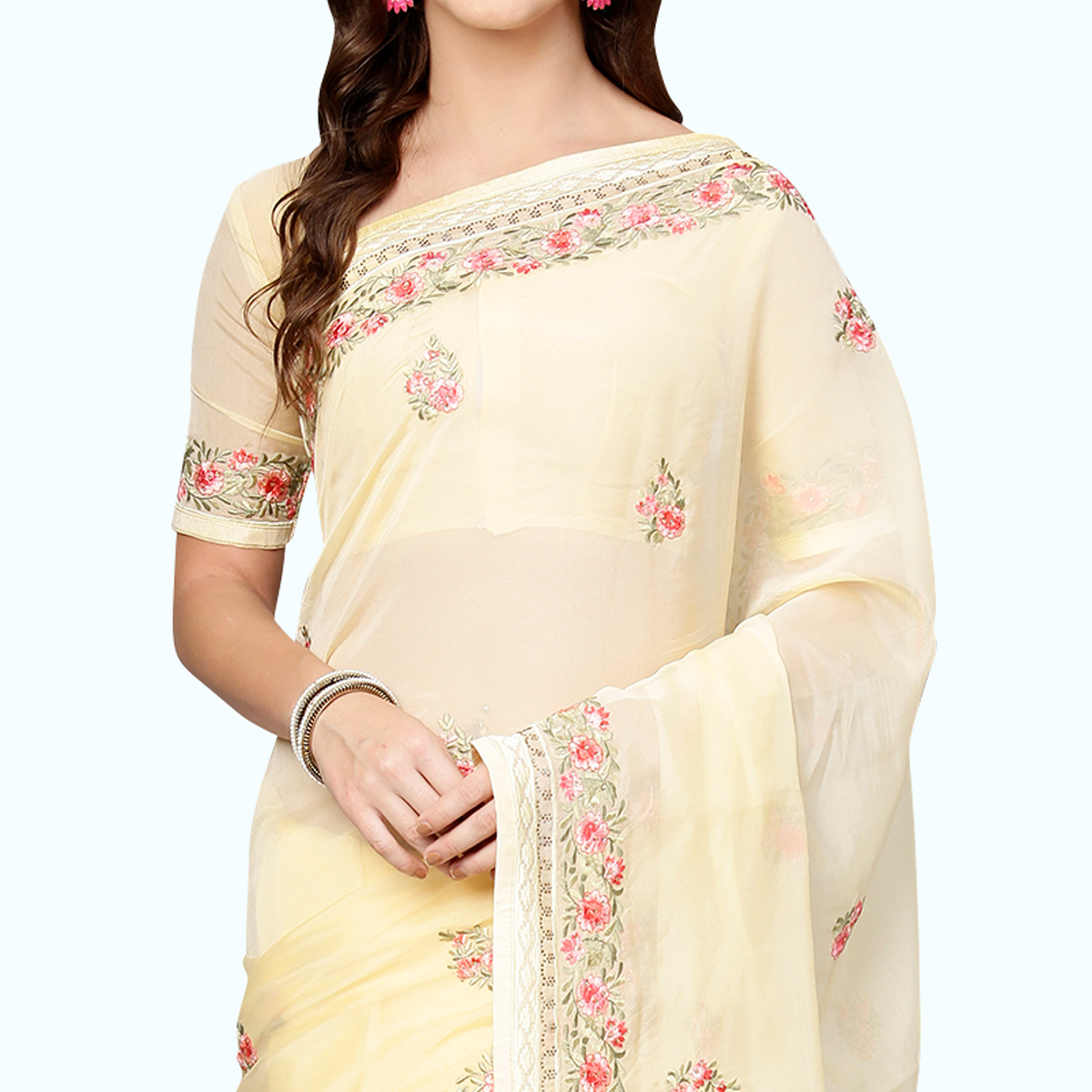 Glorious Cream Colored Partywear Embroidered Organza Saree