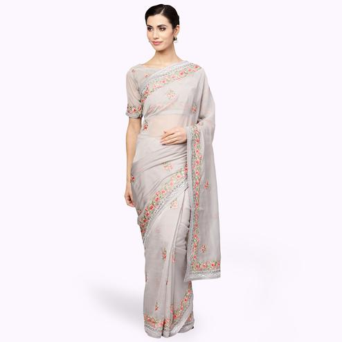 Attractive Gray Colored Partywear Embroidered Organza Saree