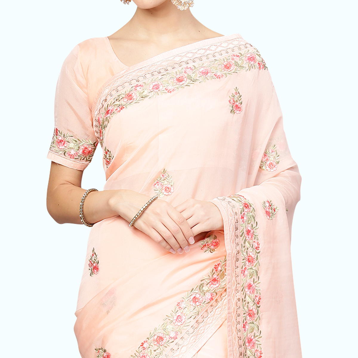 Beautiful Pastel Pink Colored Partywear Embroidered Organza Saree