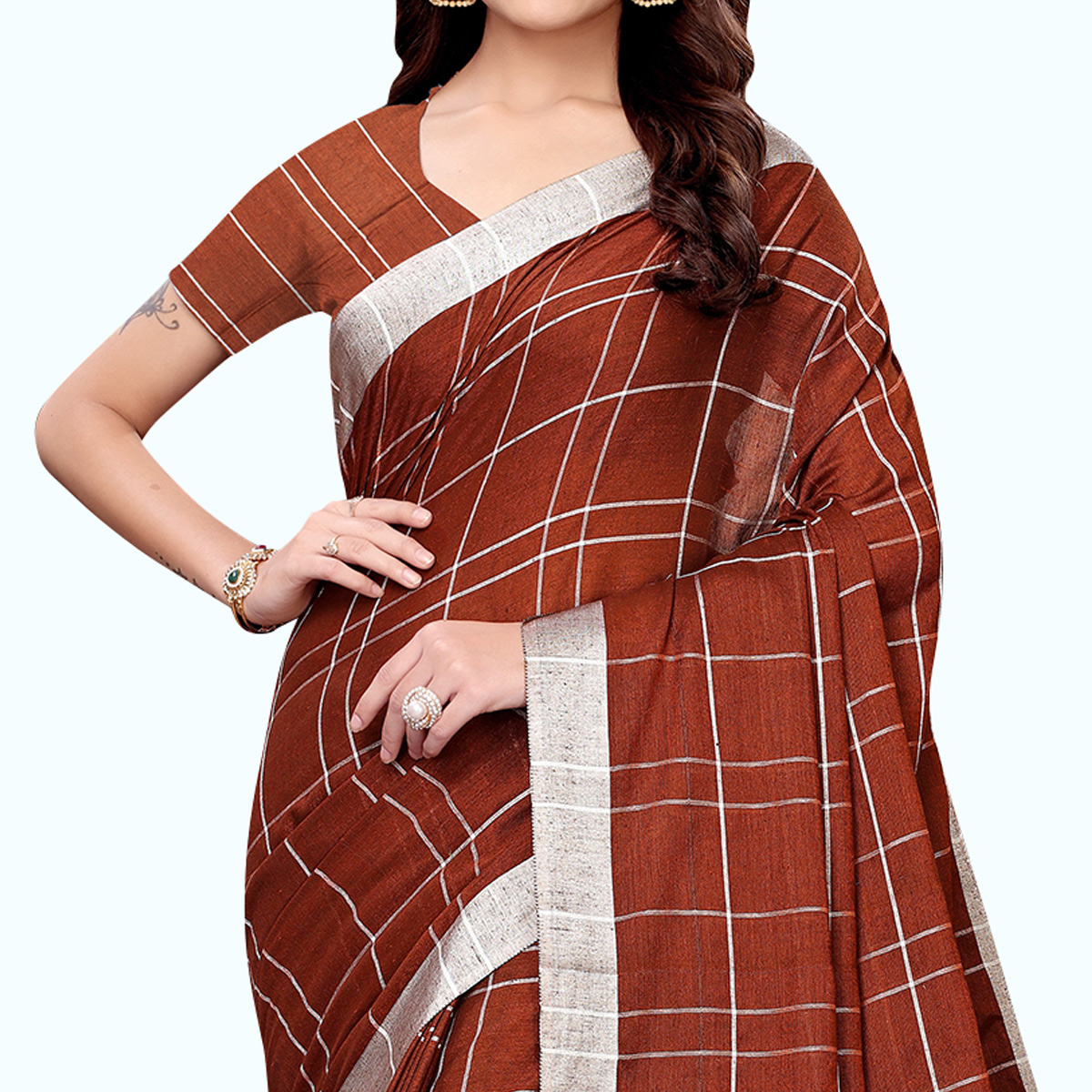 Breathtaking Brown Colored Casual Printed Linen Saree