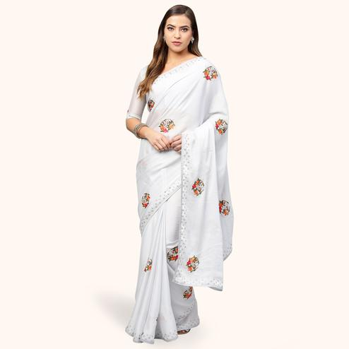 Graceful White Colored Partywear Embroidered Organza Saree