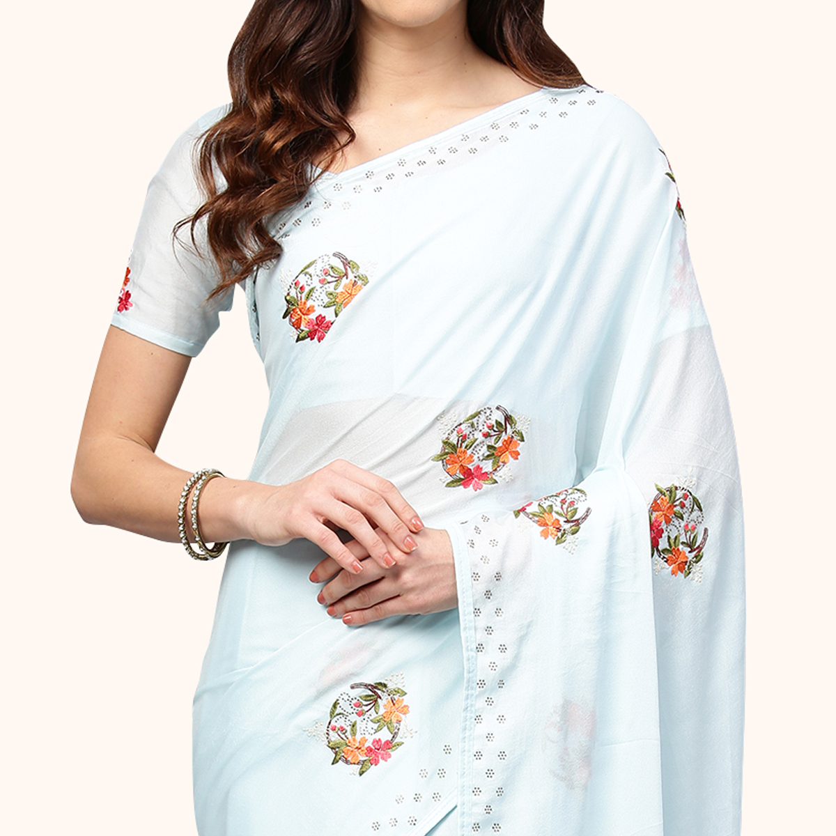 Blooming Pastel Aqua Blue Colored Partywear Embroidered Organza Saree