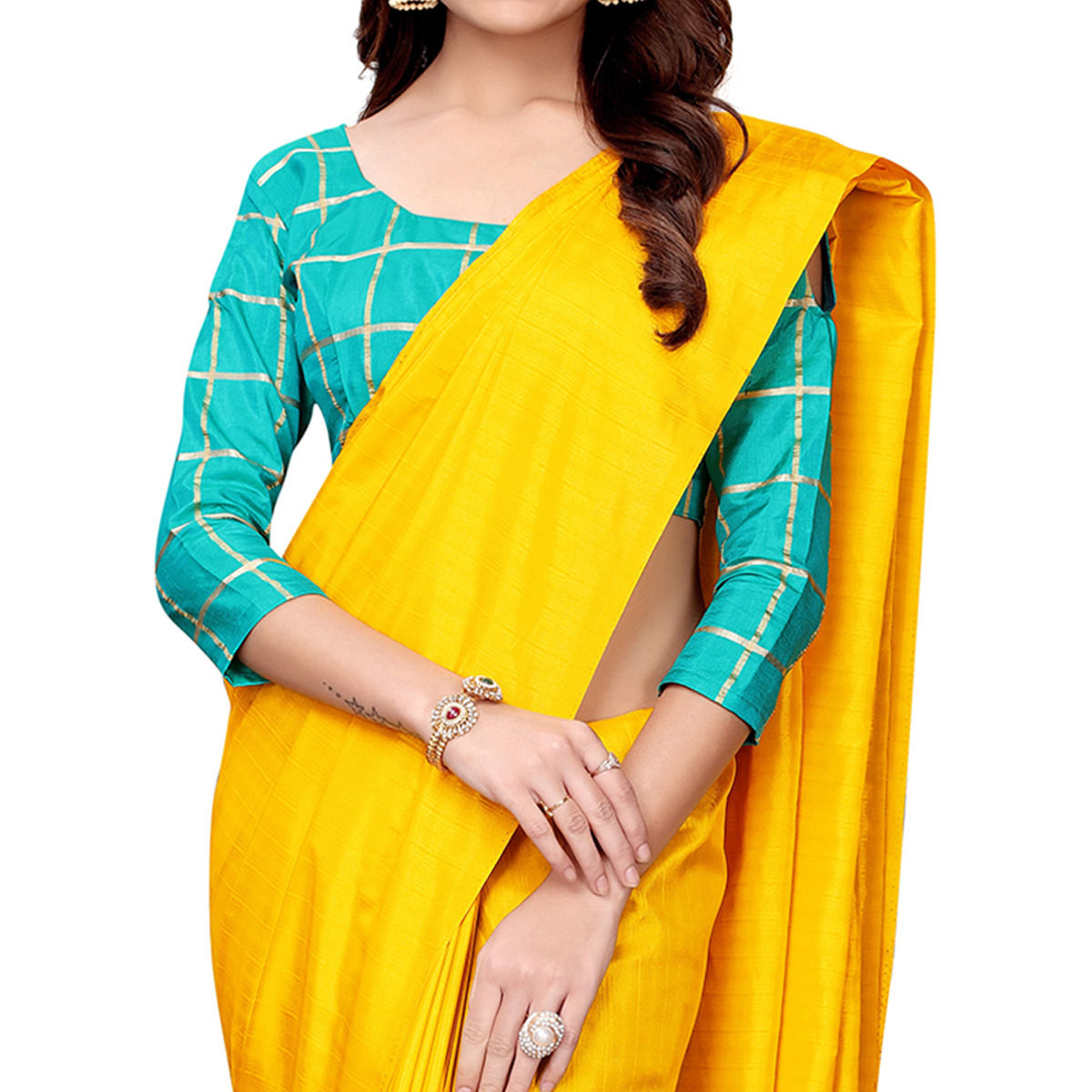 Ethnic Yellow Colored Casual Wear Art Silk Saree