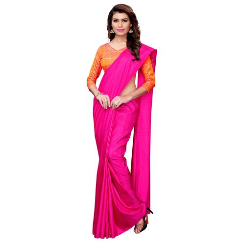 Dazzling Rani Pink Colored Casual Wear Art Silk Saree