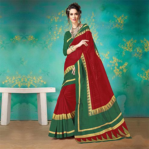 Red Festive Wear Bhagalpuri Cotton Saree