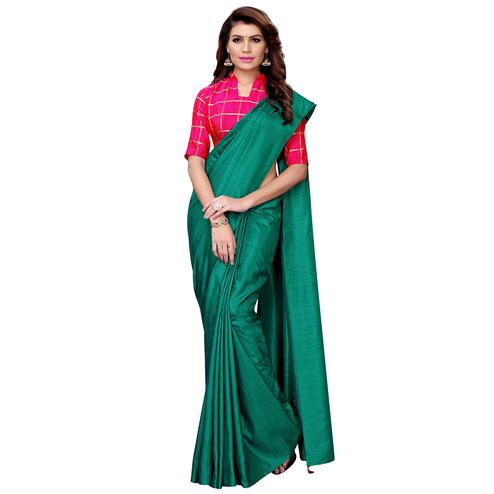 Desirable Bottle Green Colored Casual Wear Art Silk Saree