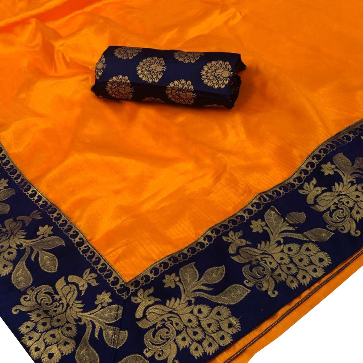 Traditional Orange Colored Festive Wear Woven Silk Saree