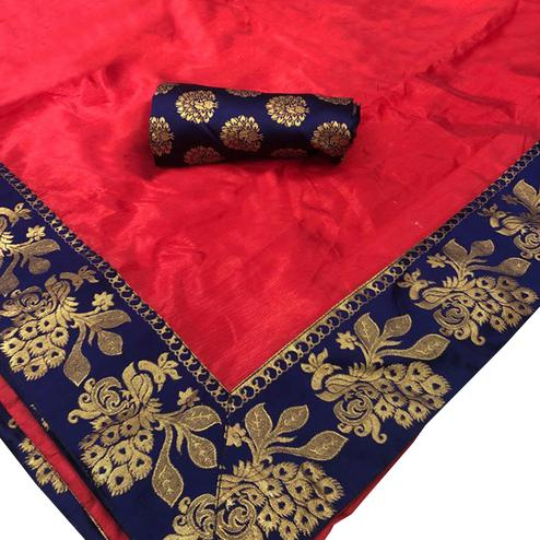 Mesmeric Red Colored Festive Wear Woven Silk Saree