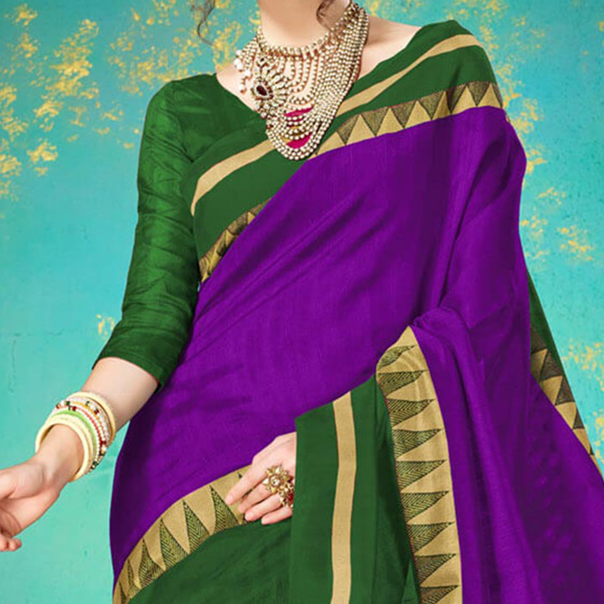 Purple Festive Wear Bhagalpuri Cotton Saree