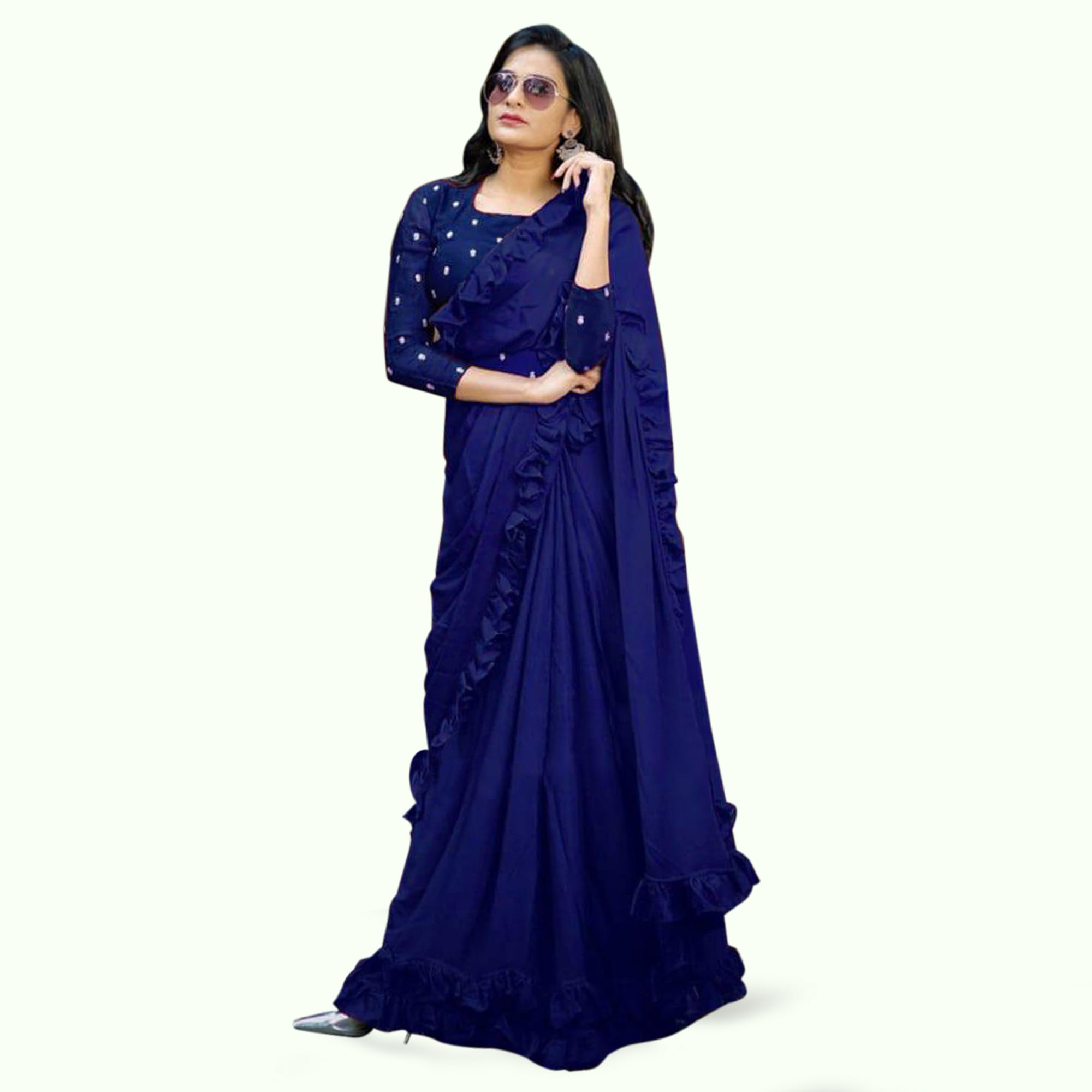 Desirable Navy Blue Colored Partywear Art Silk Saree
