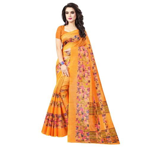 Graceful Orange Colored Casual Printed Bhagalpuri Silk Saree