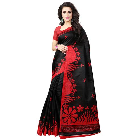 Blooming Black-Red Colored Casual Printed Bhagalpuri Silk Saree