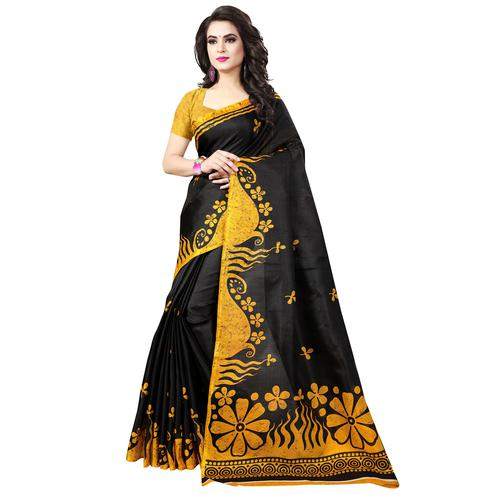 Charming Black-Yellow Colored Casual Printed Bhagalpuri Silk Saree