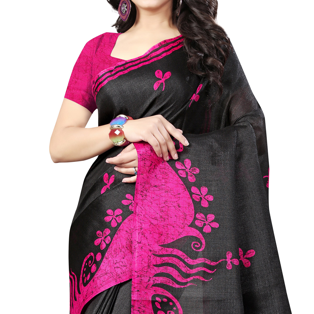 Delightful Black-Pink Colored Casual Printed Bhagalpuri Silk Saree