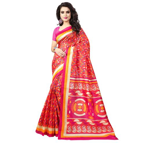 Groovy Red Colored Casual Printed Bhagalpuri Silk Saree