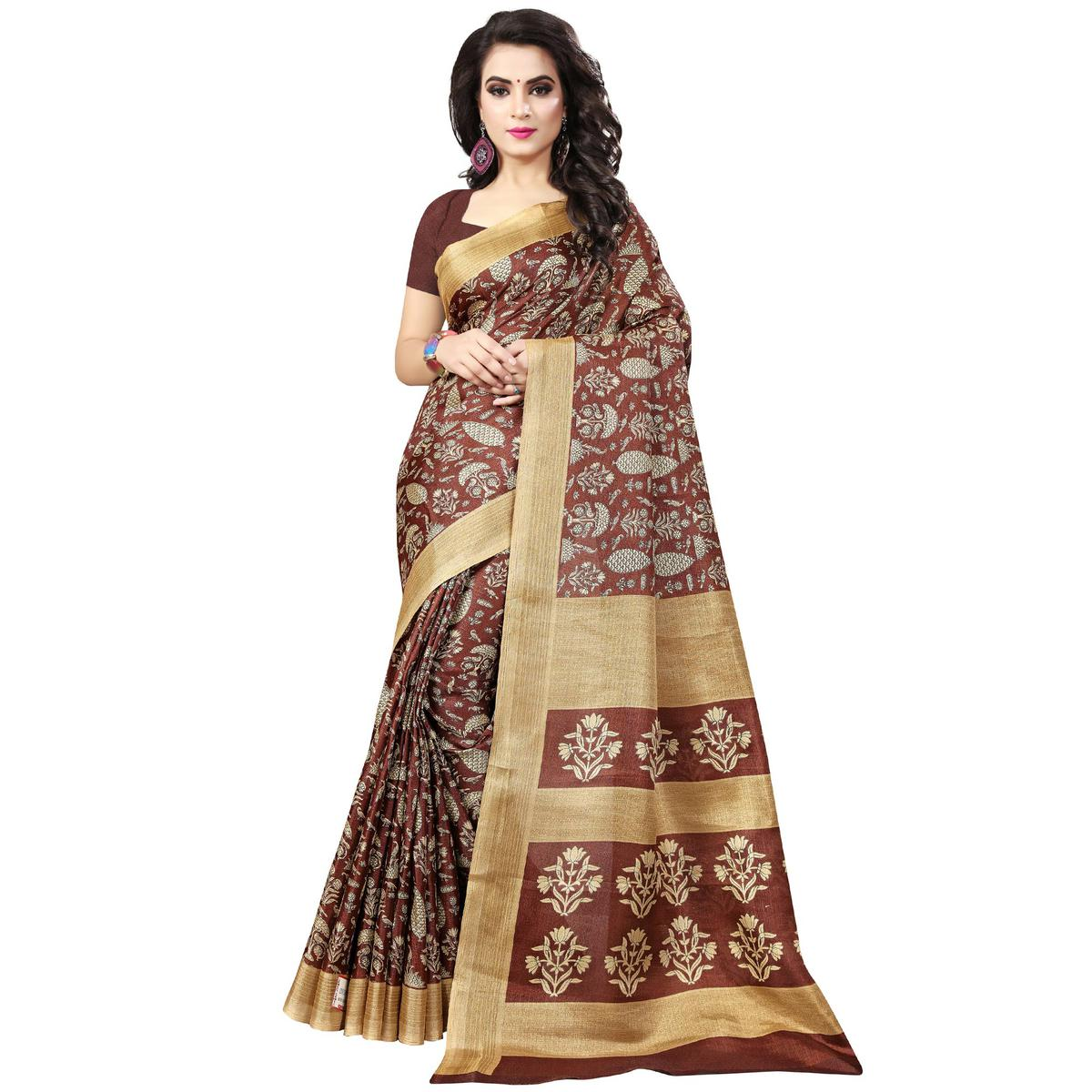 Classy Brown Colored Casual Printed Art Silk Saree