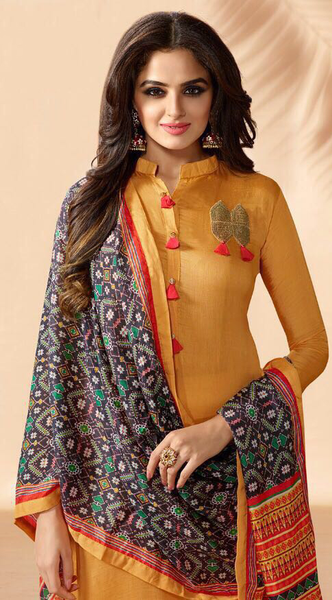 Yellow Designer Hand Worked Muslin Silk Salwar Suit