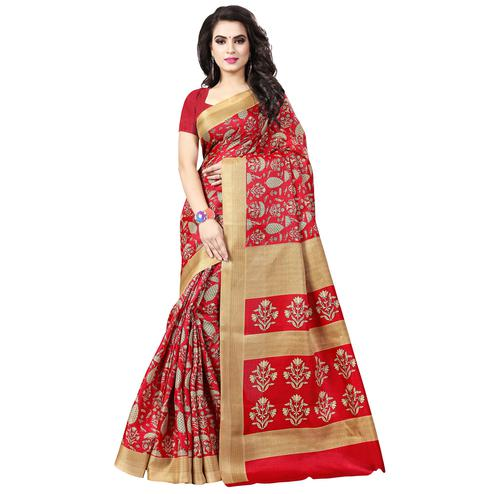 Desirable Red Colored Casual Printed Art Silk Saree